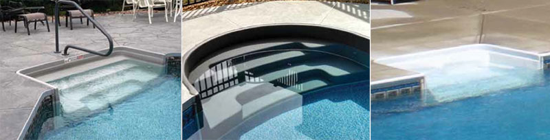 Just a few examples of the over 50 models of Tread Loc Pool Steps available