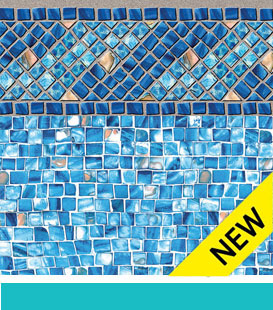 Inground Swimming Pool Liner Choices - Amelia | Azure Mosaic, 27/27 Mil